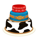Cowboy party birthday cake.Vector illustration
