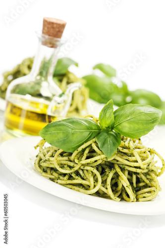 delicious italian pasta with pesto sauce