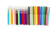 A set of colored markers on a white background