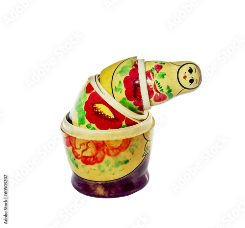 Multi-colored dolls matrioshka on a white background