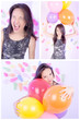 set of happy girl with balloons, party theme