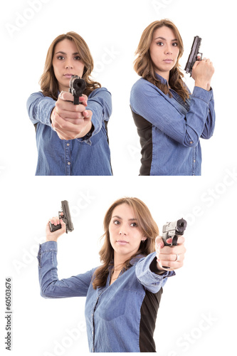 Woman Posing With gun set
