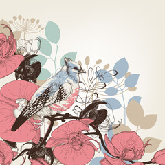 Orchid flowers and bird retro background