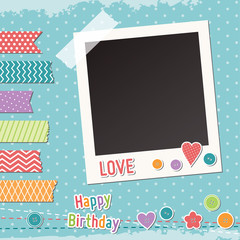 Vintage scrapbook elements, washi tape strips, photoframe