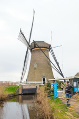 Traditional Dutch windmill in winter Kinderdijk