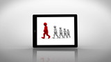 White and red characters walking displayed on digital tablet