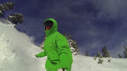 POV Man Snowboarding