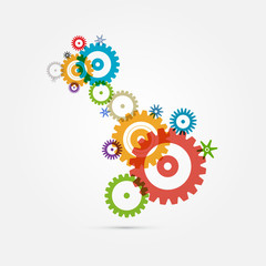Abstract Colorful Cogs - Gears on White Background