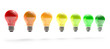 colored light bulbs in row