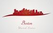 Boston skyline in red