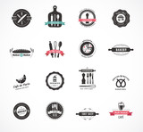 Fototapety Set of vintage restaurant and food badges, labels
