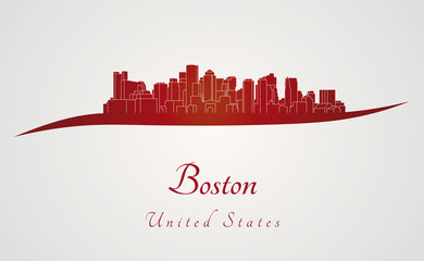 Boston skyline in red