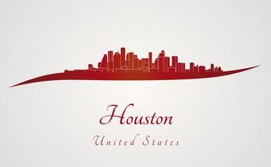 Houston skyline in red
