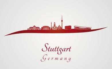 Stuttgart skyline in red