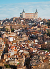Toledo - Alcazar and town in morning light