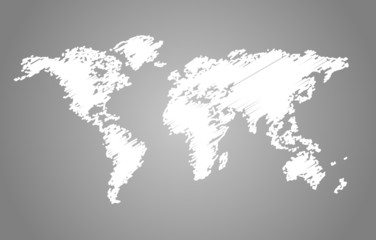 World map scribble style vector