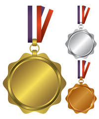 Three medals for the winners illustration