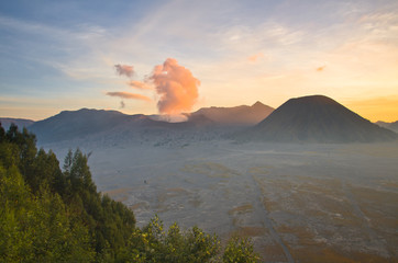 Volcanoes in Bromo Tengger Semeru National Park at sunset. Java,