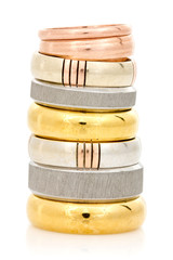 Rings stacked on a white background
