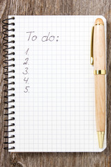 To do list on white paper notebook
