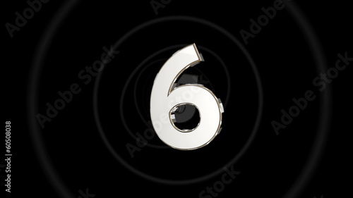 Countdown from 9 to 0 white on black with rings