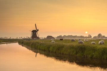 Dutch Polder Landscape during Orange Sunset