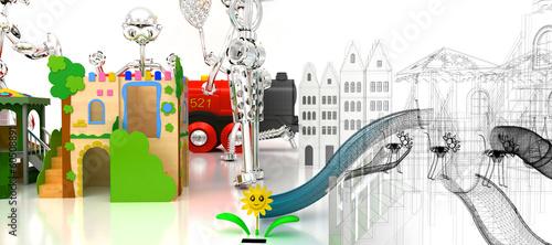 Leinwanddruck Bild Parco Giochi, bambini, Divertimenti, Luna Park, Scivoli