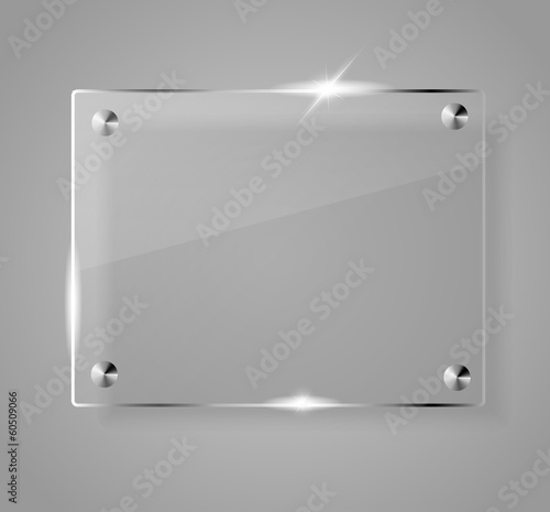Glass shining empty banner on grey background