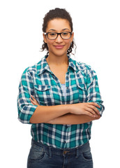 smiling african american girl in eyeglasses