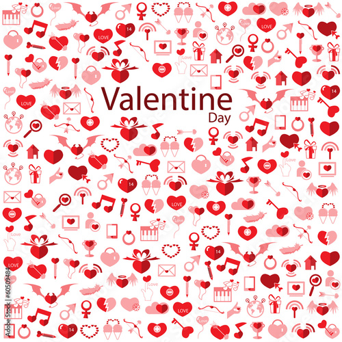 Template Background Valentine's day, Love icon