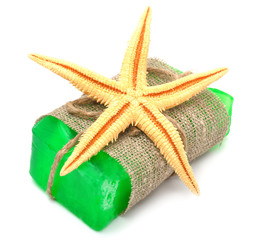 Natural handmade soap with starfish