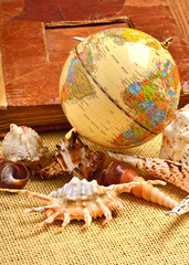 Globe, seashells, old album
