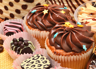 chocolate sweets and muffins