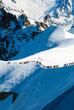 Skiers heading for Vallee Blanche, France