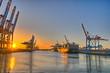Hamburger Hafen in der Abendsonne