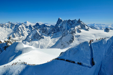 Skiers heading for Vallee Blanche, French Alps