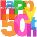 """HAPPY 50TH BIRTHDAY"" CARD (fifty party celebration congrats)"