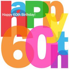 """""""HAPPY 60TH BIRTHDAY"""" CARD (sixty party celebration congrats)"""