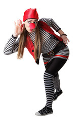 Clown in a pirate suit isolated on a white background