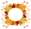 Circle Frame With Autumn Leaves