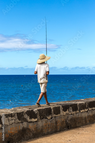 Boy fishing, Saint-Denis, La Réunion