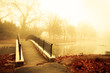 Fog and golden morning light with footbridge of pond - 60512291