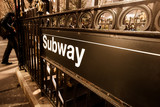 Fototapeta Vintage style subway entrance, New York City