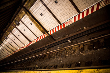Underground subway track at Penn Station in NYC
