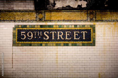 Vintage tile subway wall, 59th Street, New York City