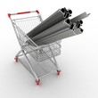 Metal profiles in your shopping cart. Conception of trading.