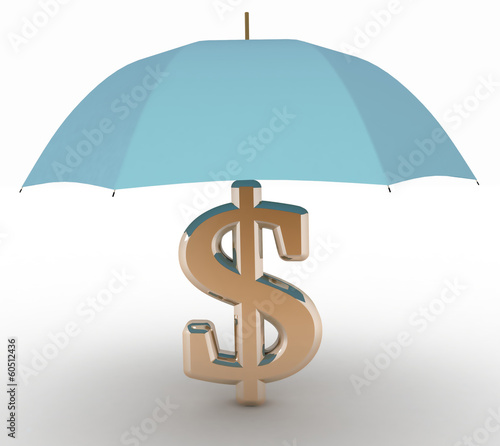 sign of dollar with an umbrella. 3d illustration on white