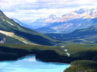 Aerial view of the Canadian Rocky Mountains at Peyto Lake