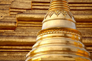 Golden pagoda – elements of Shwedagon Paya in Yangon, Myanmar