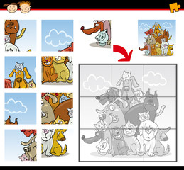 cartoon dogs and cats jigsaw puzzle game
